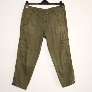 Joie Fatigue Green Cropped Cargo Pants